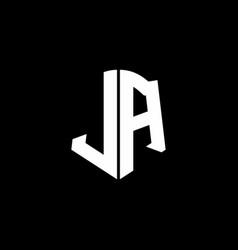 ja monogram letter logo ribbon with shield style vector image