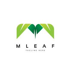 letter m with leaf shape logo design inspiration vector image