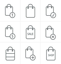 Line Icons Style Shopping bag icons on white backg vector image