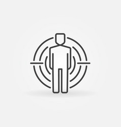 Man under crosshair icon vector