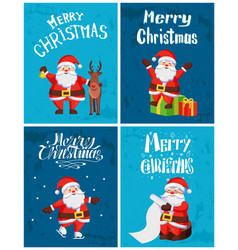 Merry christmas santa claus reindeer gift skating vector