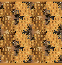 modern abstract gold brown 3d seamless pattern vector image
