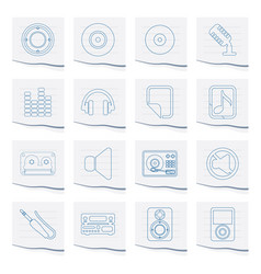 Music and sound icons on a piece of paper vector