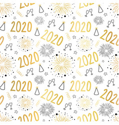 new year 2020 celebration seamless pattern vector image