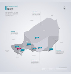 niger map with infographic elements pointer marks vector image