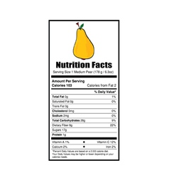 Nutrition facts pear vector