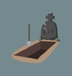 open grave and headstone with hoe vector image