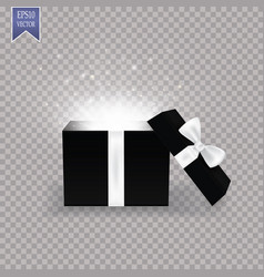 opened gift box with white bow and abstract light vector image