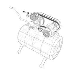 Outline air compressor vector