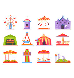 Park attractions collection vector