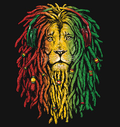Pen and inked rastafarian lion vector