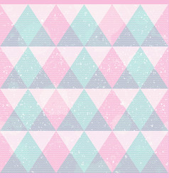 pink triangles seamless pattern with grunge effect vector image