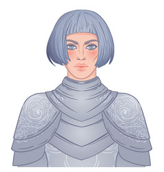Portrait beautiful girl with a sword female vector