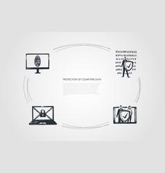 protection of computer data - cipher fingerprint vector image