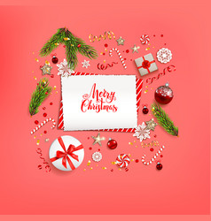Red flat lay christmas vector