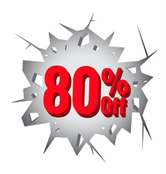 Sale 80 percent on Hole cracked white wall vector