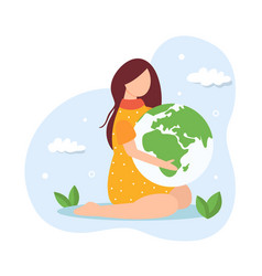 save planet concept young girl holding globe vector image