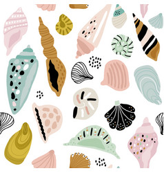seamless pattern with colorful creative seashells vector image
