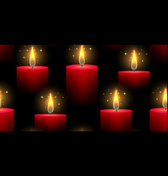 seamless pattern with red burning candles on a vector image