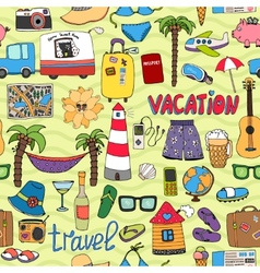 Seamless tropical vacation and travel pattern vector image