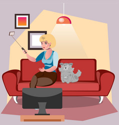 selfie girl with a dog vector image