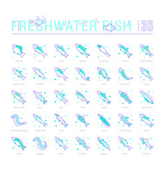 Set blue line icons freshwater fish vector