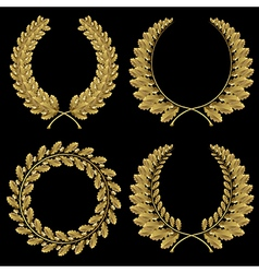 Set from gold oak wreath vector