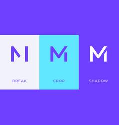 set letter m minimal logo icon design template vector image