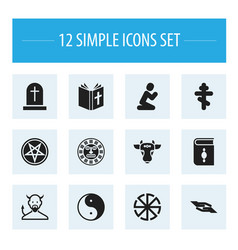 set of 12 editable dyne icons includes symbols vector image