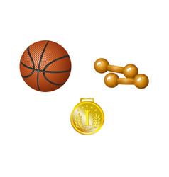 set of basketball ball dumbbells and golden medal vector image