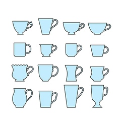 Set of mugs of different shapes vector image