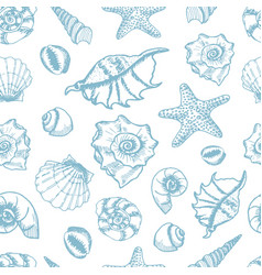 Shell and star fish seamless pattern vector