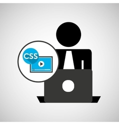 Silhouette programmer working laptop css player vector