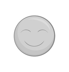 Smiley face icon black monochrome style vector image