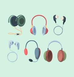 stylish headphones set modern studio rooms vector image