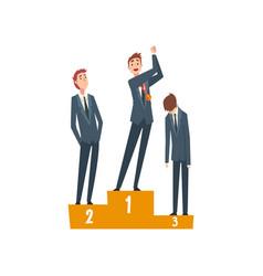 Successful businessman standing on pedestal vector