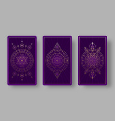 tarot cards back set with mystical symbols vector image