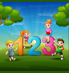 The children are learn number vector