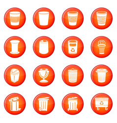 trash can icons set red vector image