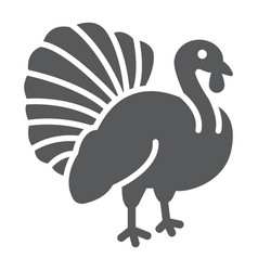 Turkey bird glyph icon animal and farm vector