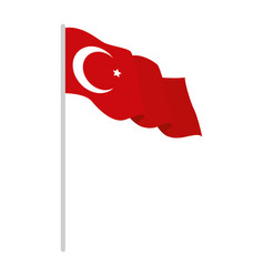 Turkey flag in pole isolated icon vector