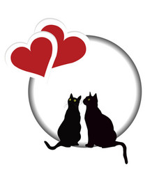 Valentines day card with two cats and two hearts vector