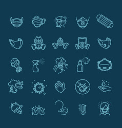 virus related icons thin icon set vector image