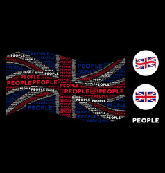 waving uk flag pattern of people text items vector image