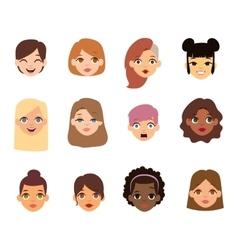Woman emoji face icons vector
