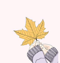women holding leaves during the fall vector image