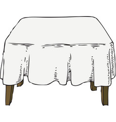 wooden table with white tablecloth vector image