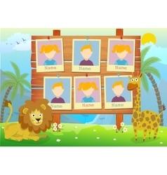 Yearbook for kindergarten with animals vector