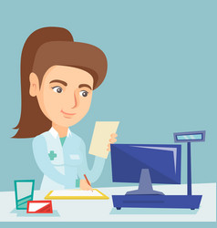 Young caucasian pharmacist writing prescription vector