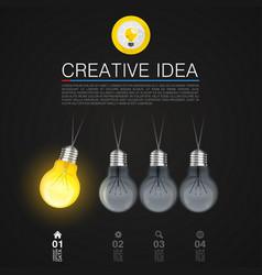 creative idea idea lamp light black background vector image